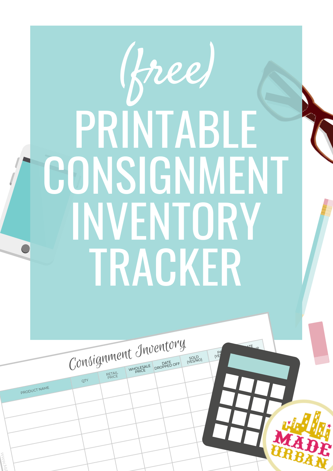 A free printable spreadsheet to keep track of your handmade product in consignment stores. Track when you drop off, get paid, etc.