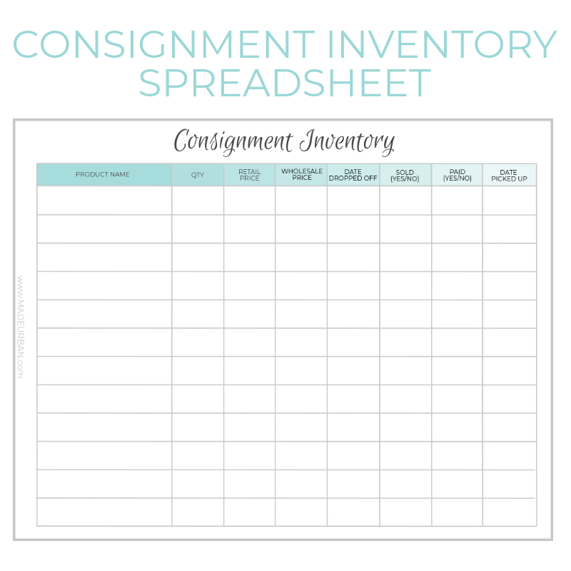 Consignment Inventory Tracking Spreadsheet